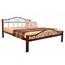 Двуспальная || полуторная кровать ЭЛИС ЛЮКС ВУД МЕЛБИ ★ от 120х190 до 180х200 ★ кровать на деревянных ножках с кованым изножьем, изголовьем на ортопедическом основании